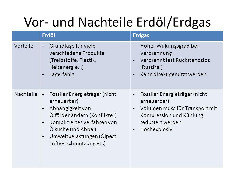 Vor- und Nachteile Erdöl/Erdgas