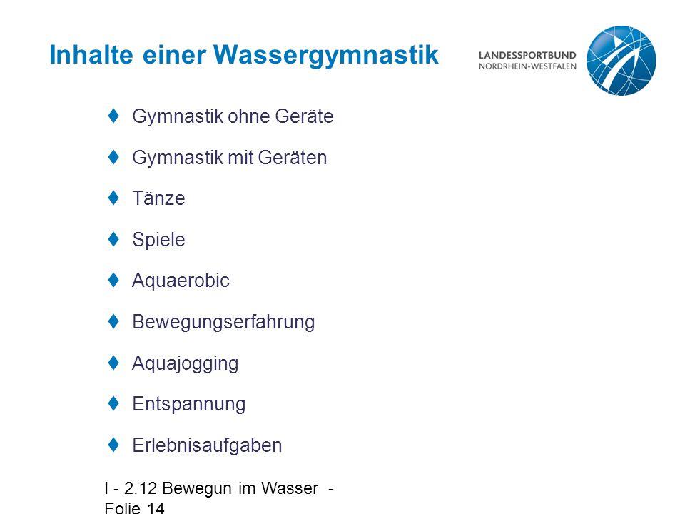 Inhalte einer Wassergymnastik