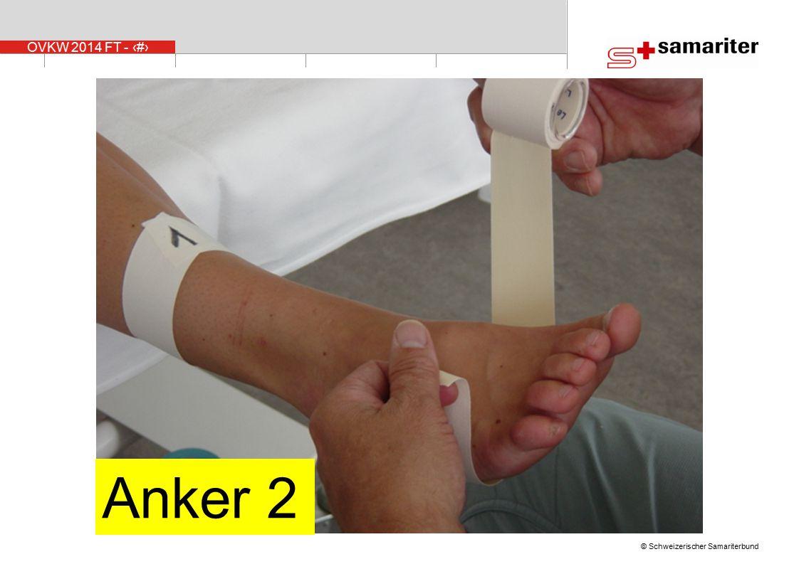 Der zweite Anker wird 4-8 cm hinter den Zehen (je nach Grösse des Fusses) angebracht.