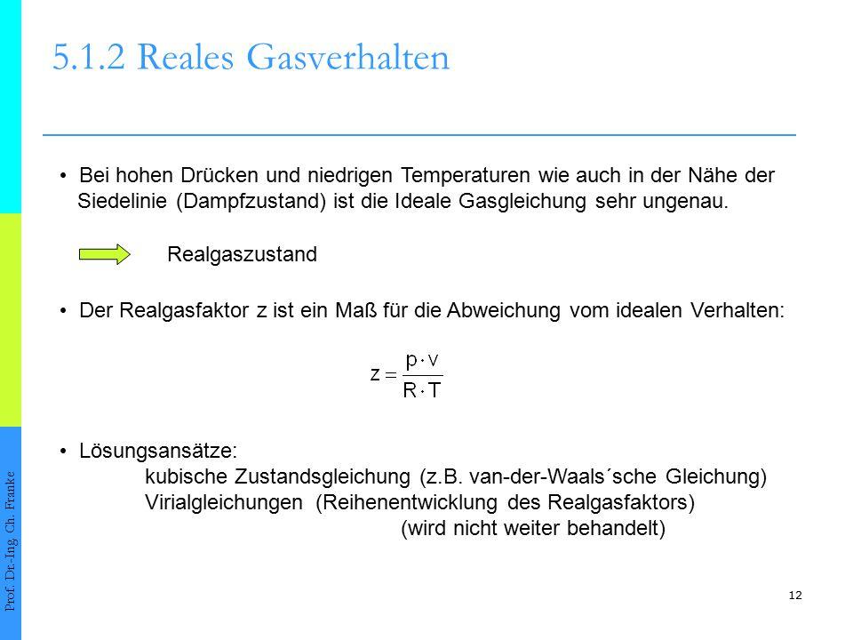 5.1.2 Reales Gasverhalten • Bei hohen Drücken und niedrigen Temperaturen wie auch in der Nähe der.