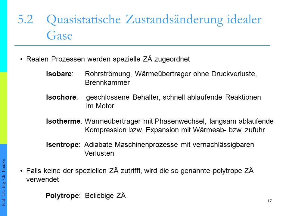 5.2 Quasistatische Zustandsänderung idealer Gase