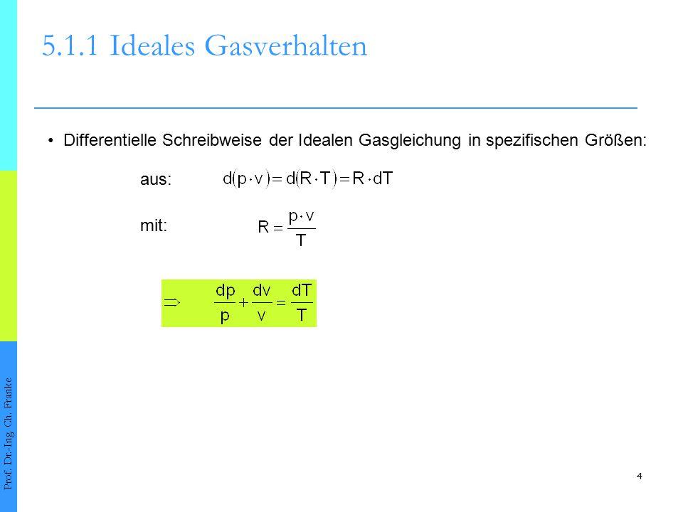 5.1.1 Ideales Gasverhalten • Differentielle Schreibweise der Idealen Gasgleichung in spezifischen Größen: