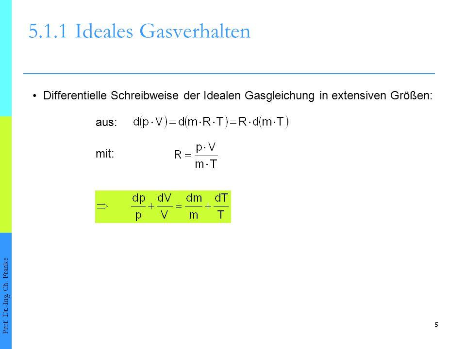 5.1.1 Ideales Gasverhalten • Differentielle Schreibweise der Idealen Gasgleichung in extensiven Größen: