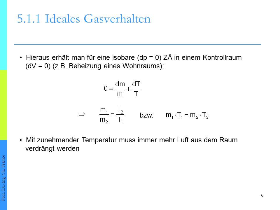 5.1.1 Ideales Gasverhalten • Hieraus erhält man für eine isobare (dp = 0) ZÄ in einem Kontrollraum.