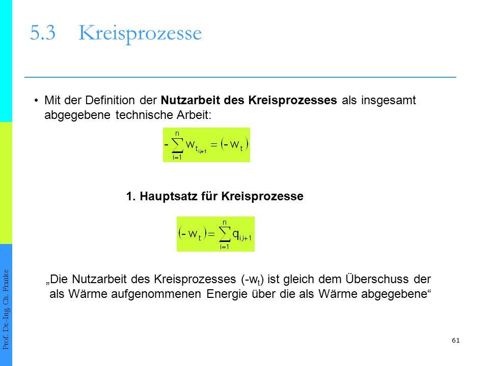 5.3 Kreisprozesse • Mit der Definition der Nutzarbeit des Kreisprozesses als insgesamt. abgegebene technische Arbeit: