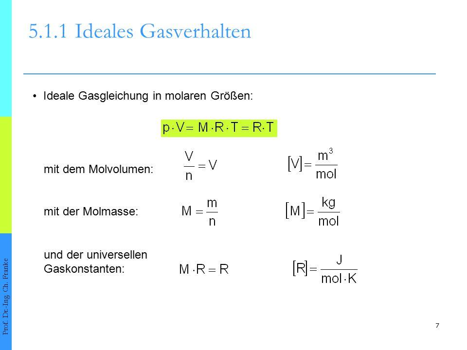 5.1.1 Ideales Gasverhalten • Ideale Gasgleichung in molaren Größen: