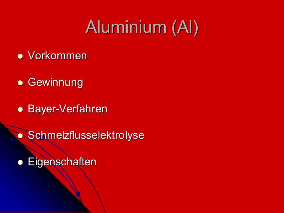 Aluminium (Al) Vorkommen Gewinnung Bayer-Verfahren