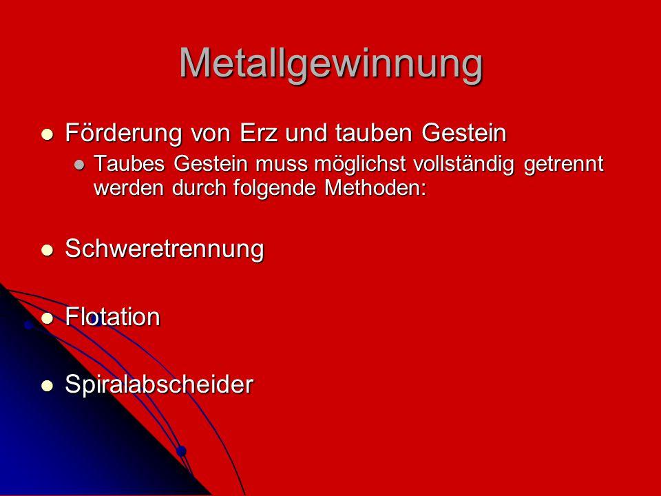 Metallgewinnung Förderung von Erz und tauben Gestein Schweretrennung
