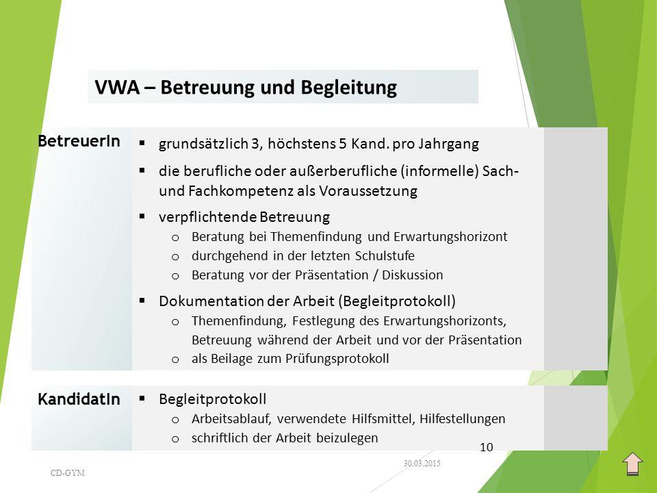 VWA – Betreuung und Begleitung