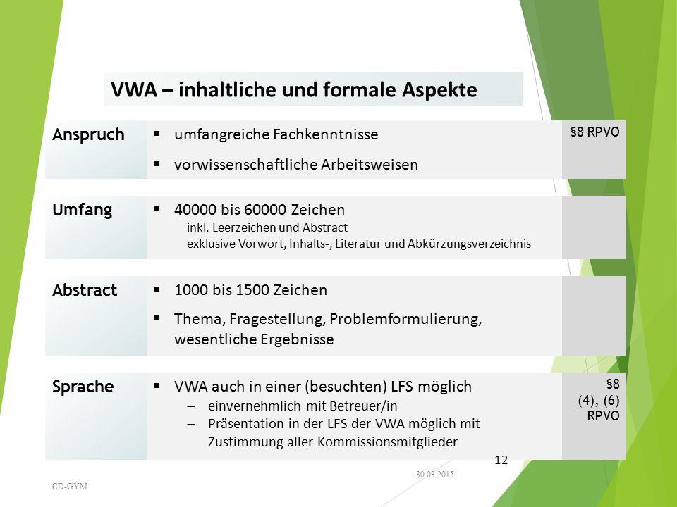 VWA – inhaltliche und formale Aspekte
