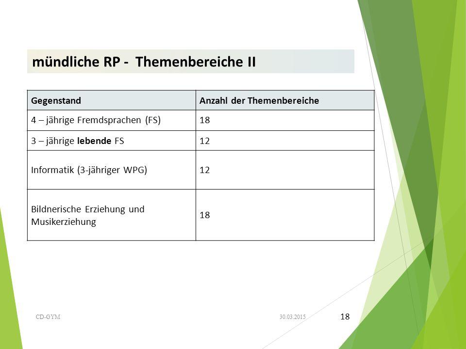 mündliche RP - Themenbereiche II