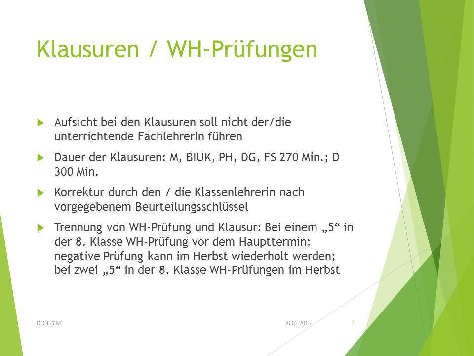 Klausuren / WH-Prüfungen