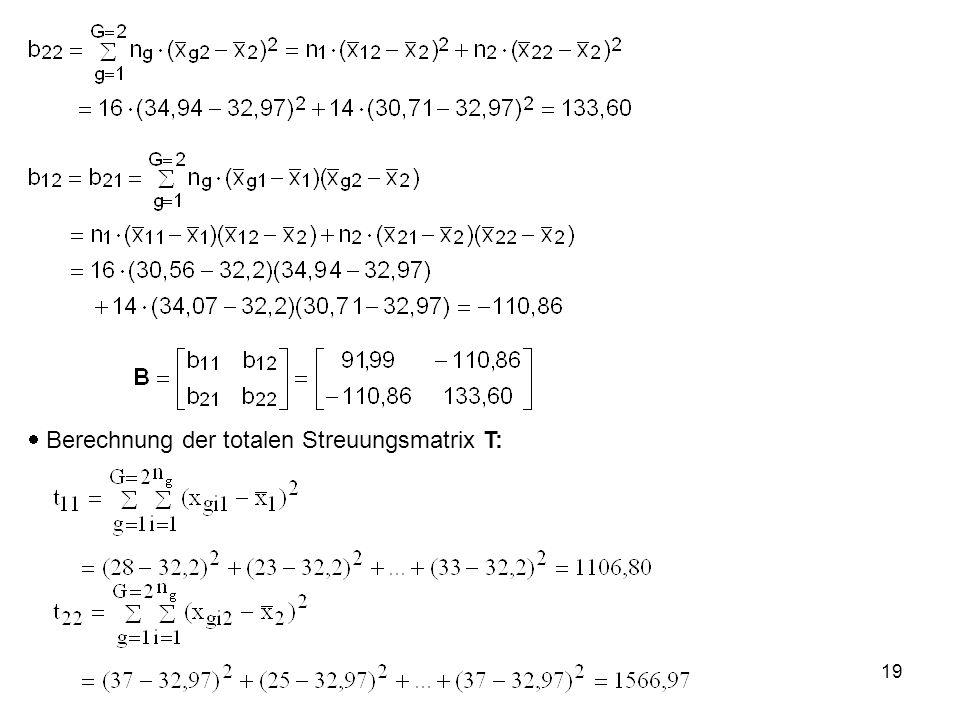  Berechnung der totalen Streuungsmatrix T: