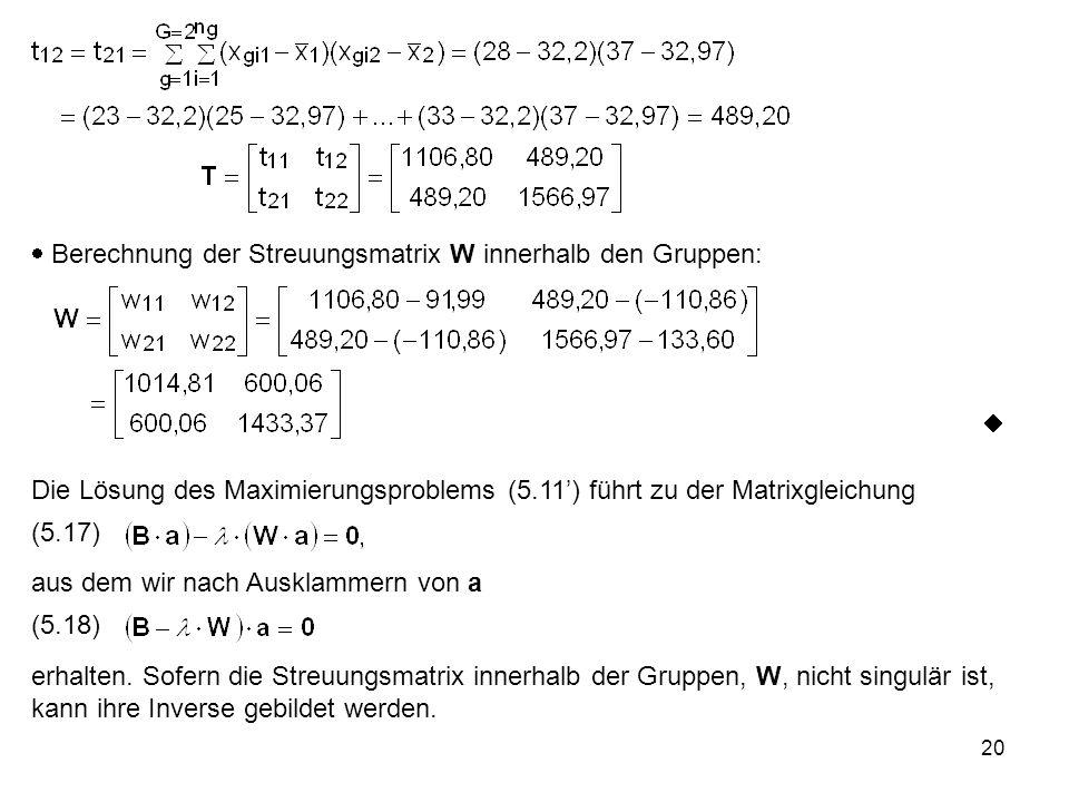  Berechnung der Streuungsmatrix W innerhalb den Gruppen: