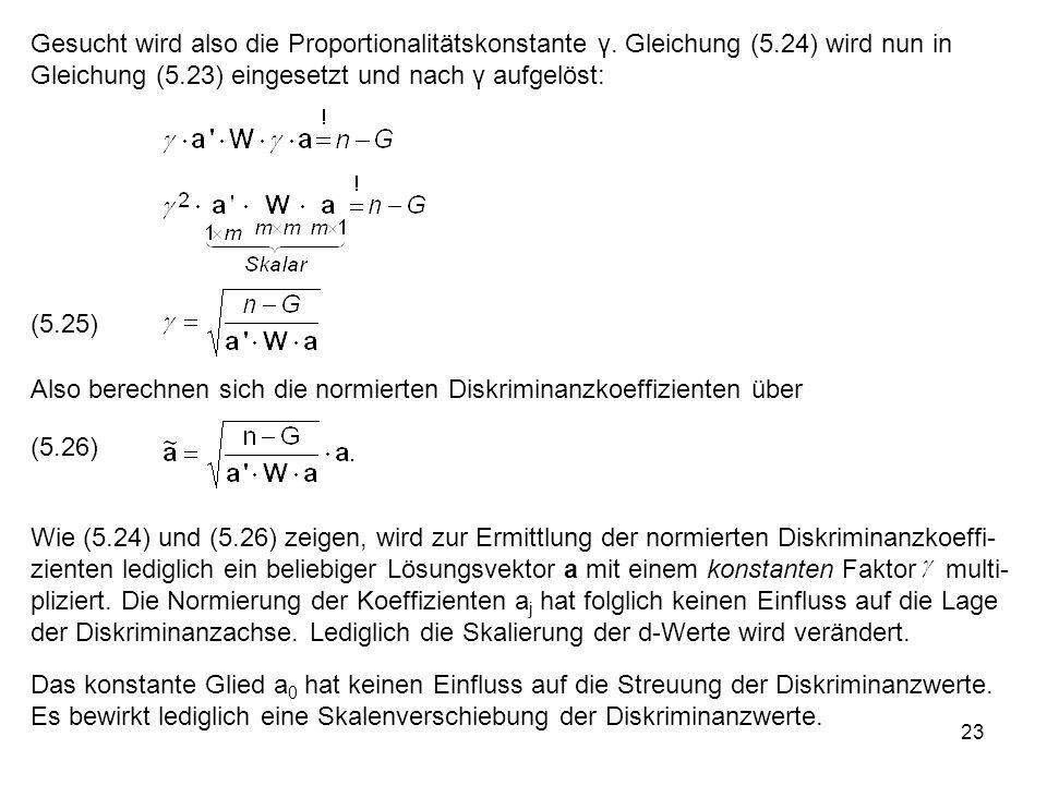 Gesucht wird also die Proportionalitätskonstante γ. Gleichung (5