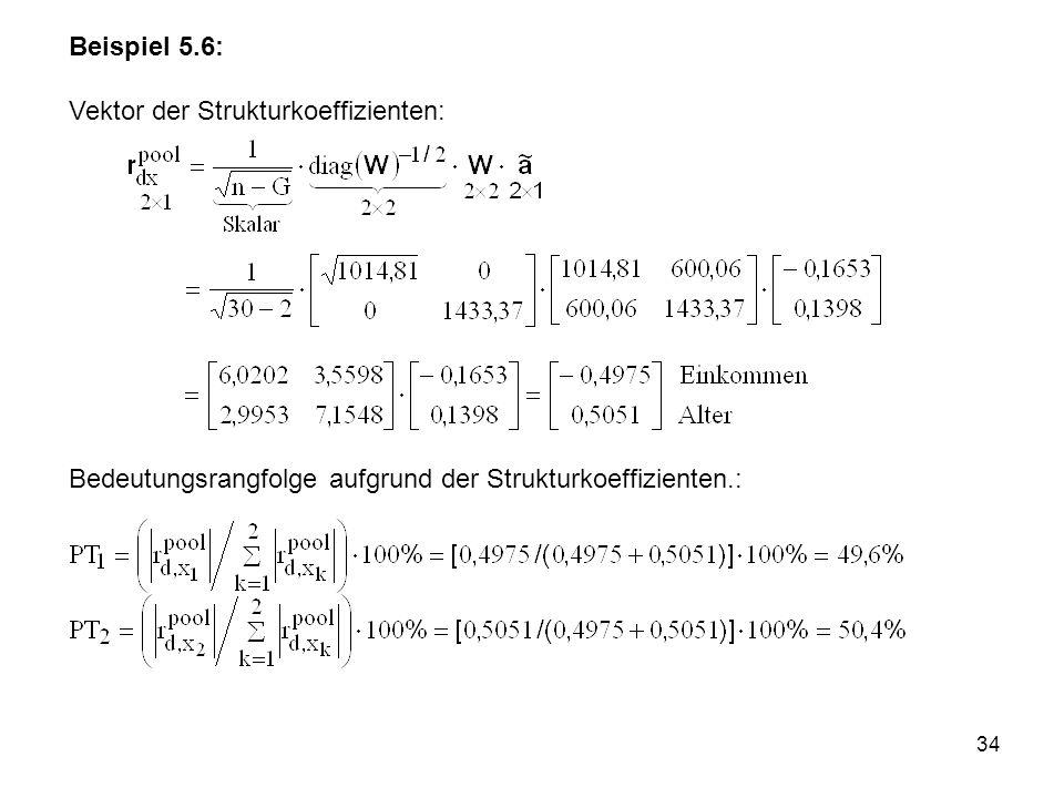 Beispiel 5.6: Vektor der Strukturkoeffizienten: Bedeutungsrangfolge aufgrund der Strukturkoeffizienten.: