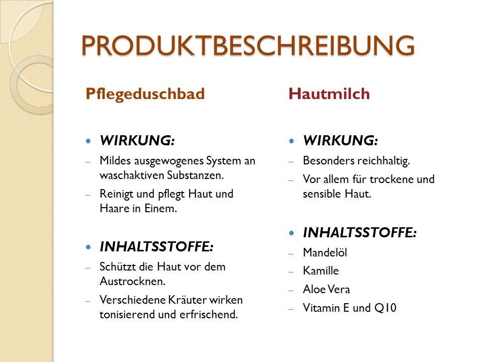 PRODUKTBESCHREIBUNG Pflegeduschbad Hautmilch WIRKUNG: INHALTSSTOFFE: