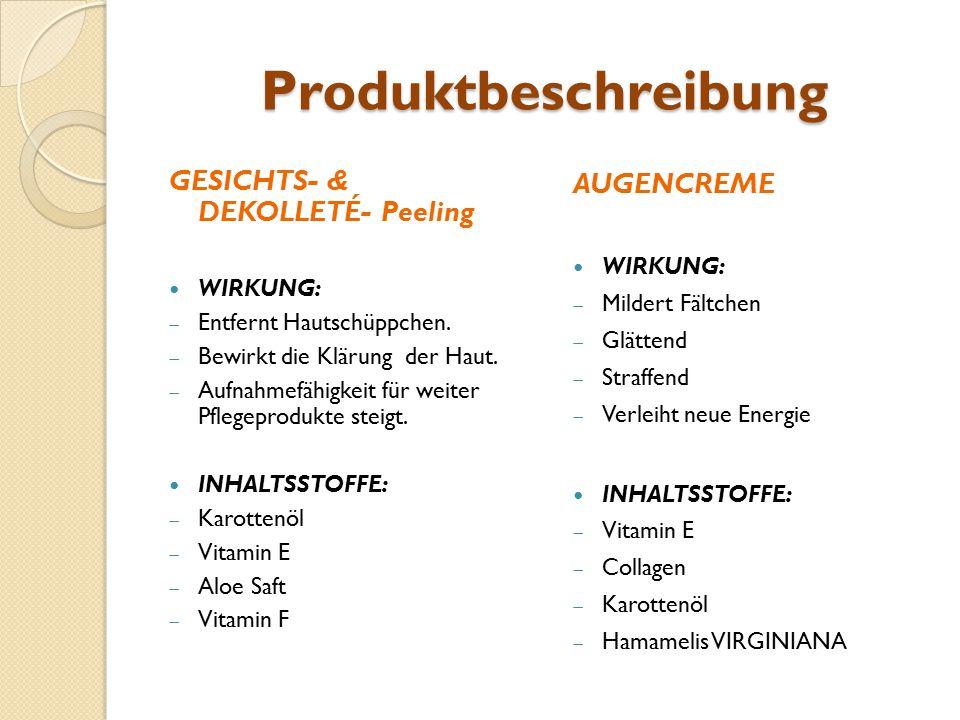 Produktbeschreibung GESICHTS- & DEKOLLETÉ- Peeling AUGENCREME WIRKUNG: