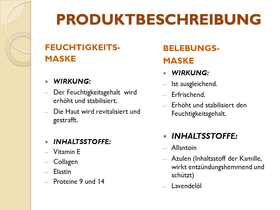 PRODUKTBESCHREIBUNG FEUCHTIGKEITS- MASKE BELEBUNGS- MASKE