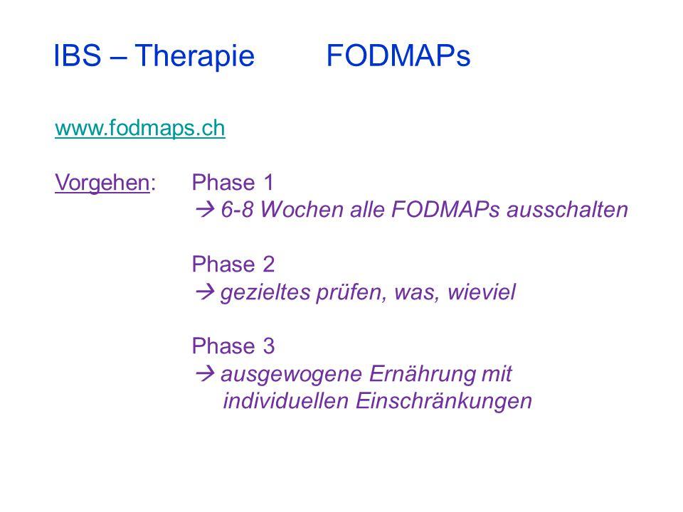 IBS – Therapie FODMAPs www.fodmaps.ch Vorgehen: Phase 1