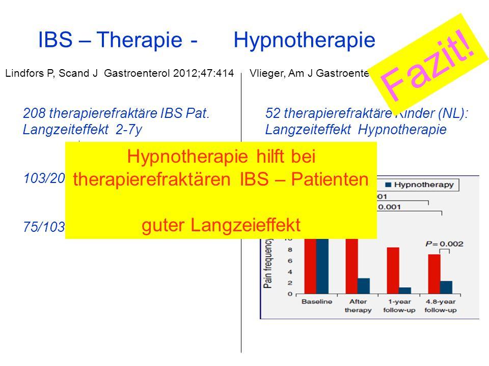 Fazit! IBS – Therapie - Hypnotherapie Hypnotherapie hilft bei