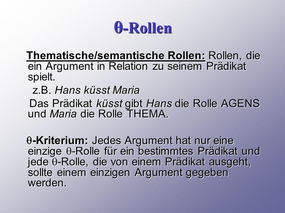 θ-Rollen Thematische/semantische Rollen: Rollen, die ein Argument in Relation zu seinem Prädikat spielt.