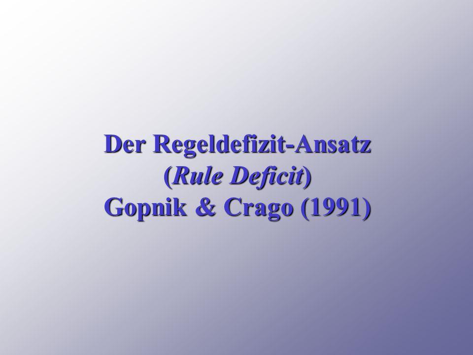 Der Regeldefizit-Ansatz (Rule Deficit) Gopnik & Crago (1991)