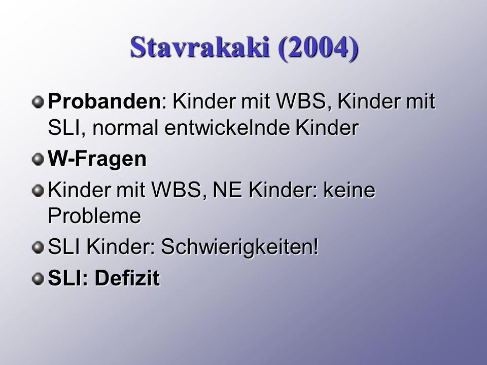 Stavrakaki (2004) Probanden: Kinder mit WBS, Kinder mit SLI, normal entwickelnde Kinder. W-Fragen.