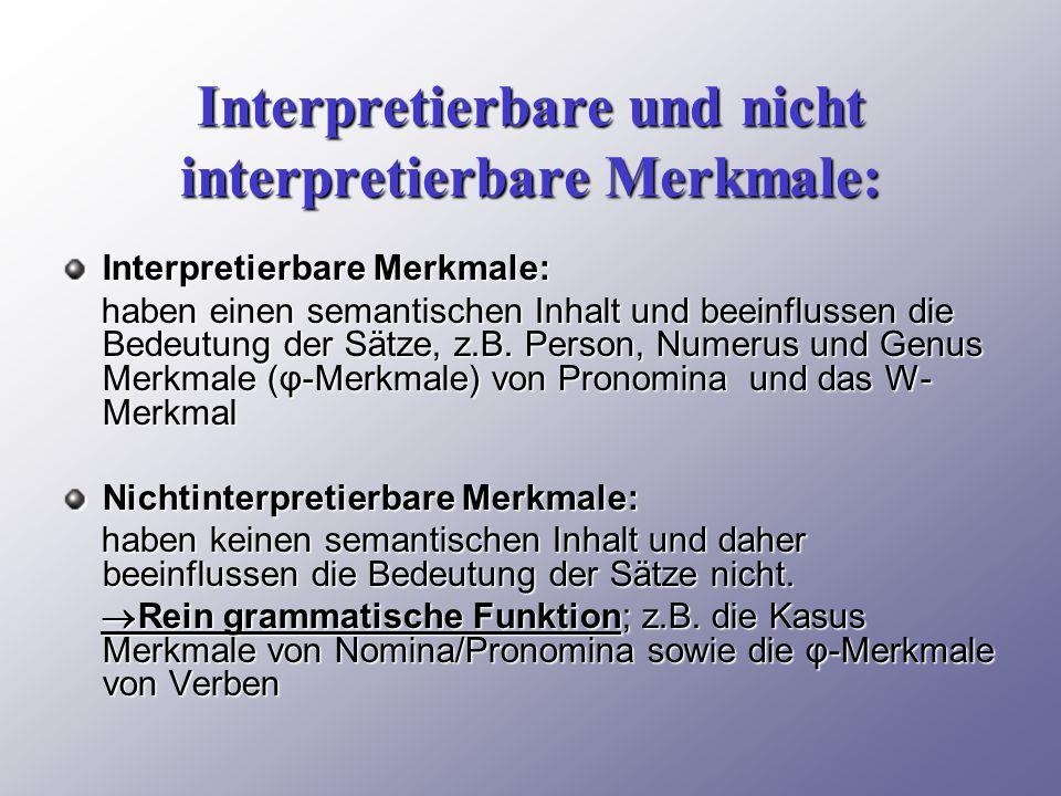 Interpretierbare und nicht interpretierbare Merkmale: