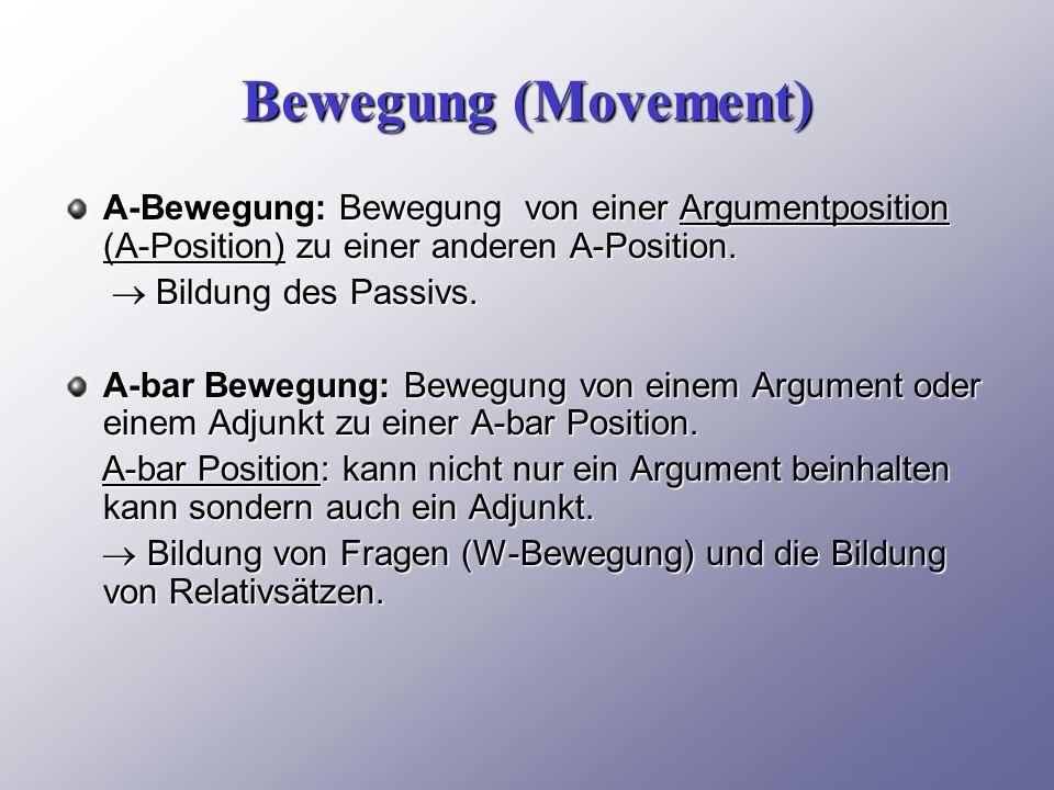 Bewegung (Movement) A-Bewegung: Bewegung von einer Argumentposition (A-Position) zu einer anderen A-Position.