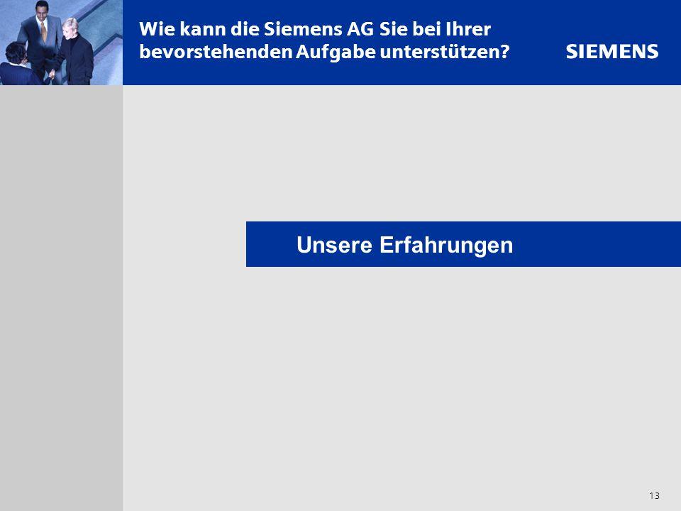 Wie kann die Siemens AG Sie bei Ihrer bevorstehenden Aufgabe unterstützen