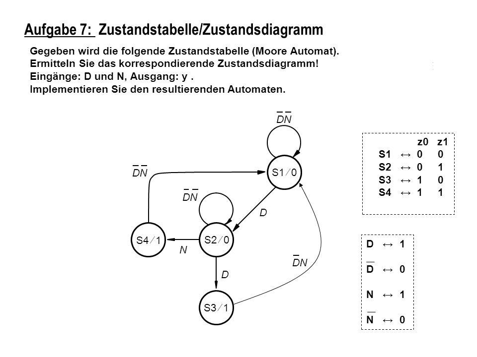 Aufgabe 7: Zustandstabelle/Zustandsdiagramm