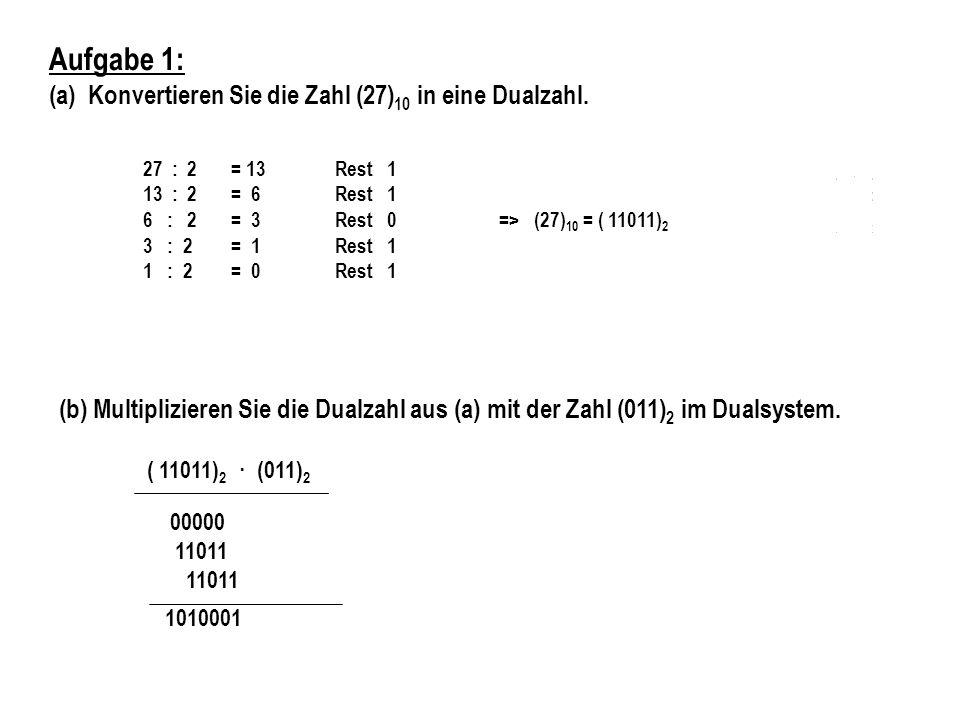 Aufgabe 1: (a) Konvertieren Sie die Zahl (27)10 in eine Dualzahl.