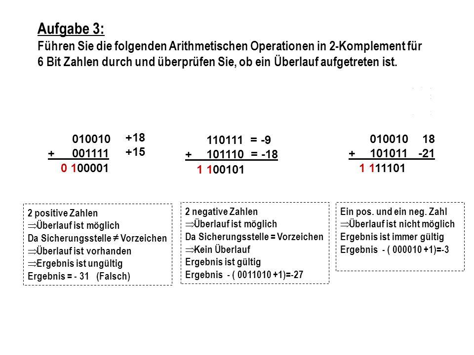 Aufgabe 3: Führen Sie die folgenden Arithmetischen Operationen in 2-Komplement für.