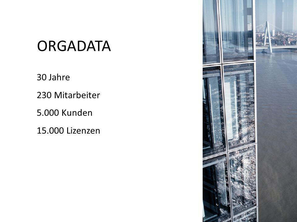 ORGADATA 30 Jahre 230 Mitarbeiter 5.000 Kunden 15.000 Lizenzen