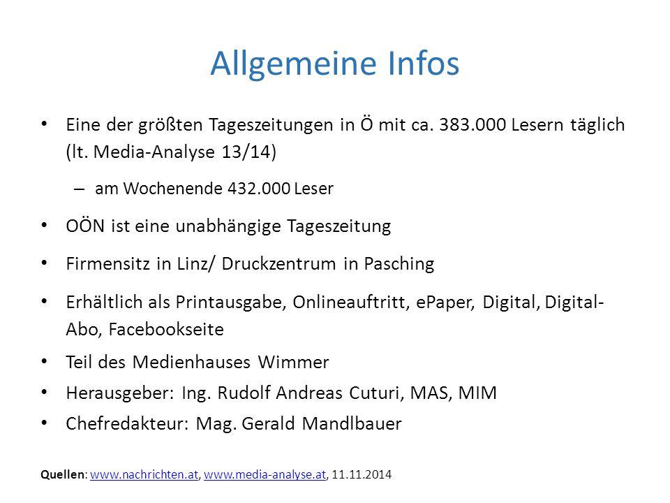 Allgemeine Infos Eine der größten Tageszeitungen in Ö mit ca. 383.000 Lesern täglich (lt. Media-Analyse 13/14)