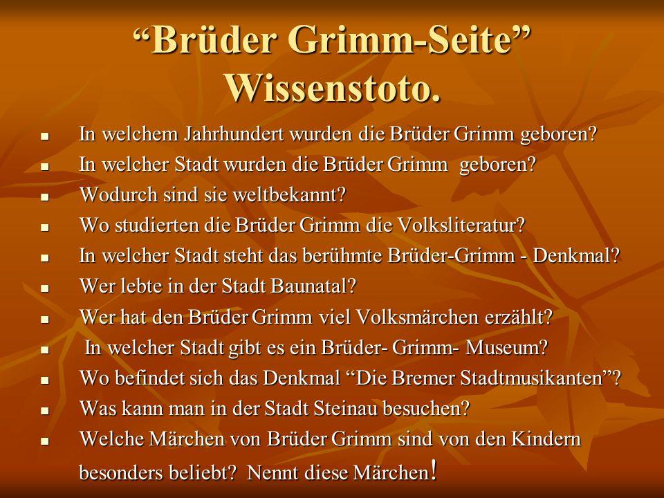 Brüder Grimm-Seite Wissenstoto.