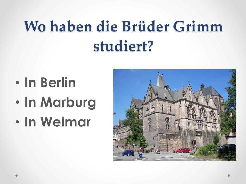 Wo haben die Brüder Grimm studiert