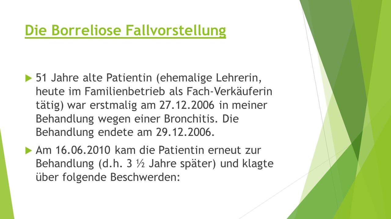 Die Borreliose Fallvorstellung