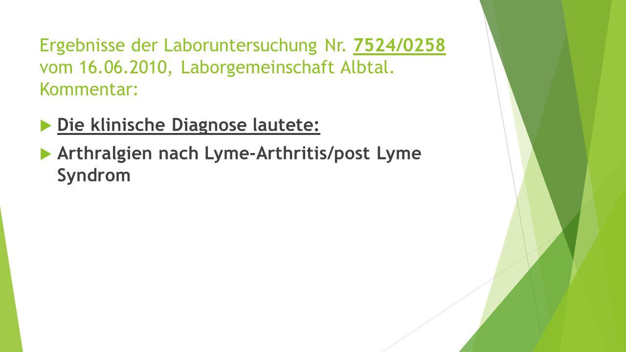 Ergebnisse der Laboruntersuchung Nr. 7524/0258 vom 16. 06