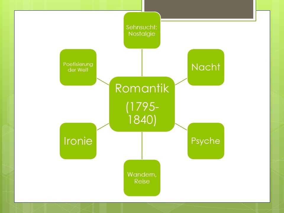 (1795-1840) Romantik Sehnsucht: Nostalgie Nacht Psyche Wandern, Reise Ironie Poetisierung der Welt