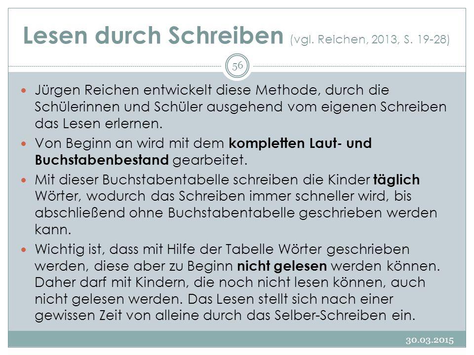 Lesen durch Schreiben (vgl. Reichen, 2013, S. 19-28)