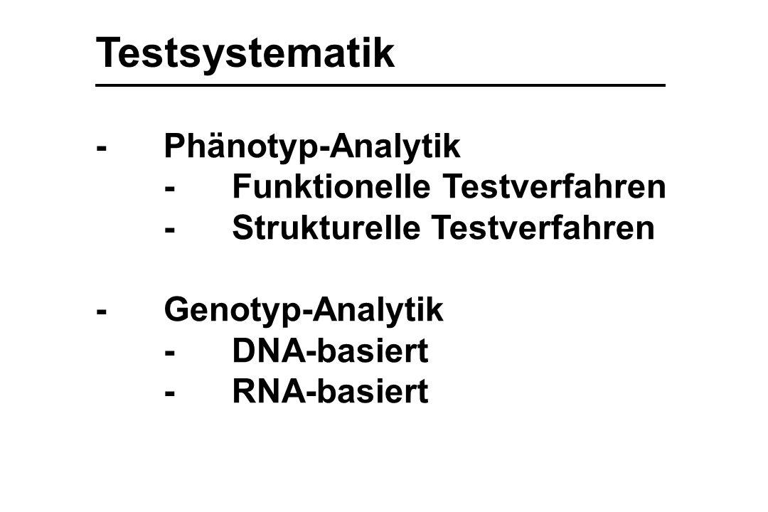 Testsystematik - Phänotyp-Analytik - Funktionelle Testverfahren