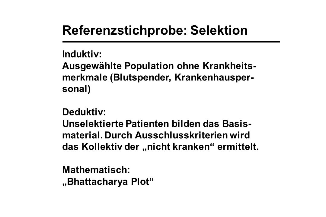 Referenzstichprobe: Selektion