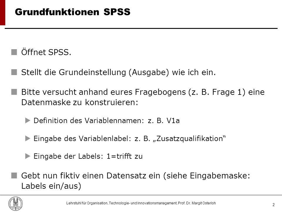 Grundfunktionen SPSS Öffnet SPSS.