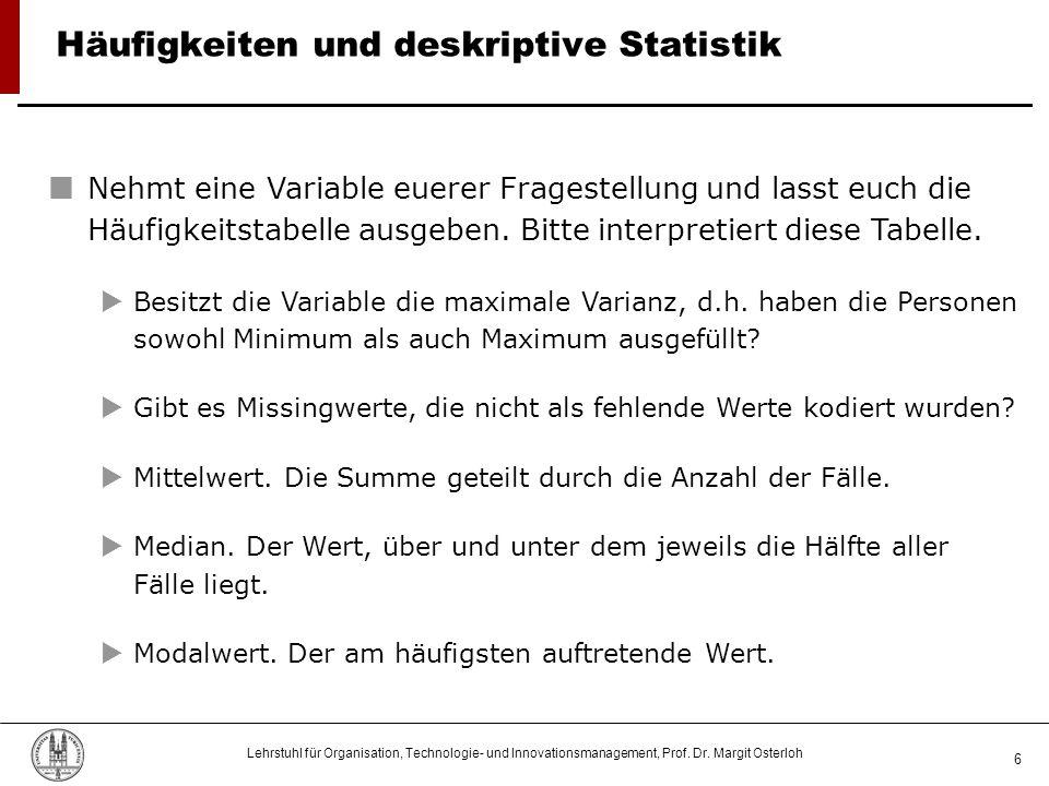 Häufigkeiten und deskriptive Statistik
