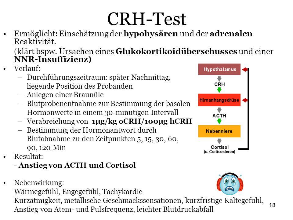 CRH-Test Ermöglicht: Einschätzung der hypohysären und der adrenalen Reaktivität.