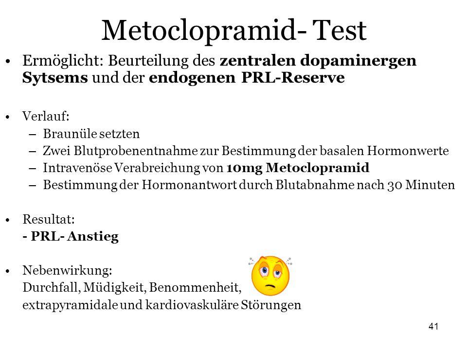 Metoclopramid- Test Ermöglicht: Beurteilung des zentralen dopaminergen Sytsems und der endogenen PRL-Reserve.