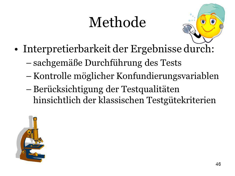 Methode Interpretierbarkeit der Ergebnisse durch: