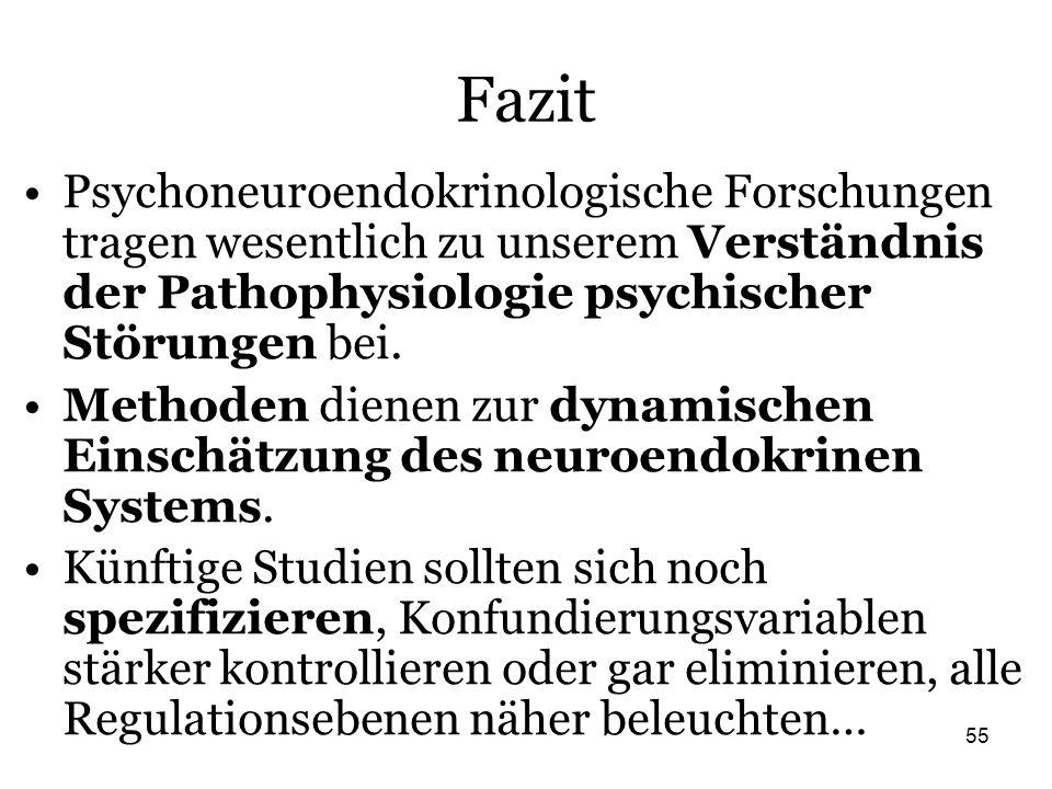 Fazit Psychoneuroendokrinologische Forschungen tragen wesentlich zu unserem Verständnis der Pathophysiologie psychischer Störungen bei.